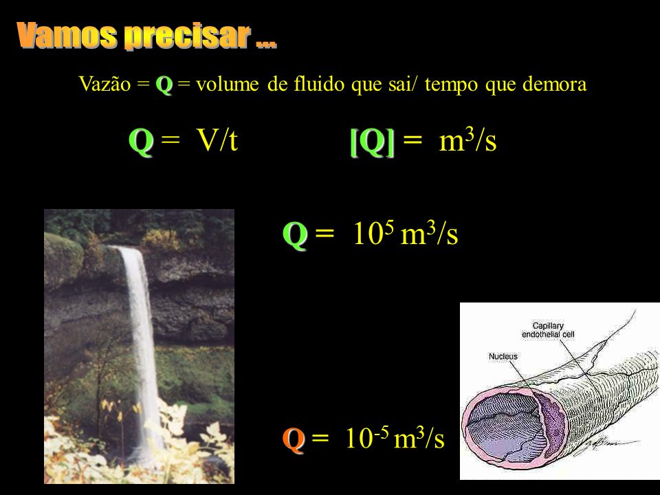 Vamos precisar ... Q = V/t [Q] = m3/s Q = 105 m3/s Q = 10-5 m3/s